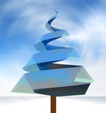 Tree conceptual blue shape in wind whirl Royalty Free Stock Images