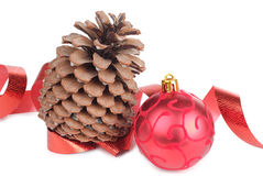 Tree cones and christmas ball Stock Photo
