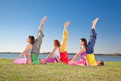 Tree couple , man and woman practice Yoga asana Stock Images