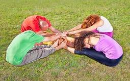 Tree couple , man and woman practice Yoga asana Stock Photos