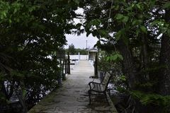Tree covered deck leading to a pier stock photos