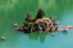 Tree covered islet in lake Royalty Free Stock Image