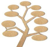 Tree created by recycled paper craft stick Royalty Free Stock Photos