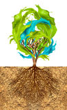 Tree of creativity. Tree with color splash leaves, creativity concept royalty free illustration