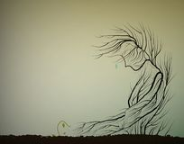 Tree cries because small sprout die, dying forest concept, save the last tree idea,. Vector vector illustration