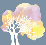 Tree with crone silhouette - watercolor style Royalty Free Stock Photos