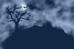 Tree, crosses, bats and moon on a foggy night. With copy space Stock Photography