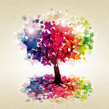 Tree with a crown made ​​of stars. Royalty Free Stock Images