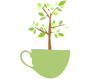 Tree in a cup. If you grow a tree everyday like you drink a coffee .it must be a good thing Royalty Free Stock Image