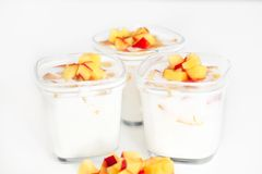 Tree cup of yogurt Royalty Free Stock Photos