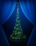 Tree curtains. Abstract tree. Christmas tree behind a screen. Christmas tree on stage Stock Photography