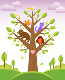 Tree and cute animals Stock Photos