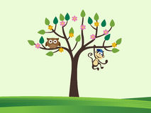 Tree and cute animals Royalty Free Stock Image