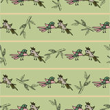 Tree with cute colorful birds seamless pattern background Royalty Free Stock Image