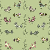 Tree with cute colorful birds seamless pattern background Stock Images