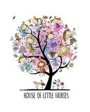 Tree with cute little fairies, sketch for your design royalty free stock images