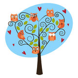 Tree with cute owls Royalty Free Stock Images