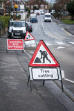 Tree cutting sign. On British town street Stock Photography