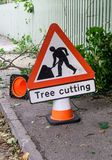 Tree cutting sign vertical Stock Photo