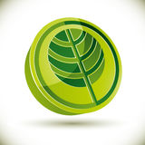 Tree 3d vector round icon. Royalty Free Stock Photography