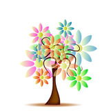 Tree with daisies. Abstract background with tree and colorful daisies Stock Image