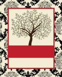 Tree on damask background Stock Image