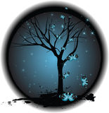 Tree on Dark Background with Stars, Butterflies. A gothic grungy tree on a dark background surrounded by butterflies and stars Stock Photography