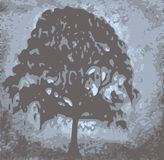 Tree at daybreak. Abstract tree at daybreak - dichromatic Royalty Free Stock Photo