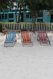 Tree deck chairs on the beach Royalty Free Stock Photos