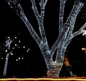 A tree decorated with bright led lights on the night of Christmas Eve. In a Bangalore neighbourhood Stock Image