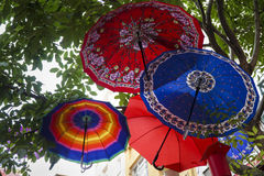 Tree Decorated With Colorful Umbrellas Royalty Free Stock Images