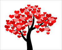 Tree decorated hearts Royalty Free Stock Photos