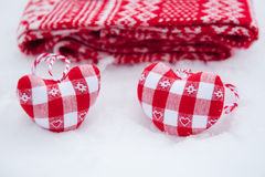 Tree decoration hearts near red scarf Stock Photography