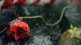 Tree Decoration, toy, garland Christmas in winter holidays indoors stock video footage