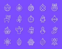 Tree Decorations simple paper cut icons vector set stock illustration