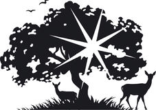 Tree and deer. Vector BW illustration. Tree and deer applique Royalty Free Stock Photography