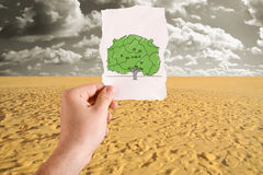 Tree in desert idea Stock Photo