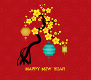 Tree design for Chinese New Year 2016 celebration.  royalty free illustration