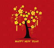 Tree design for Chinese New Year celebration. Chinese New Year Greeting Card Stock Image