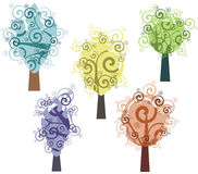 Tree design series. Fancy tree designs in single style. EPS file available royalty free illustration