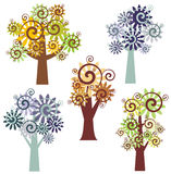 Tree design series. Fancy tree designs in single style. EPS file available stock illustration