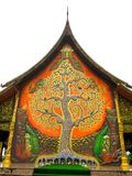 Tree design on temple wall. Sirindhorn Wararam Phuphrao Temple in Ubonratchatani , Thailand Royalty Free Stock Images