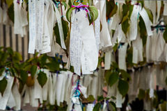 Tree of desires with suspended notes close-up as background Stock Image