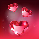Tree Diamond Hearts. Tree vector diamond hearts. Realistic vector background Royalty Free Illustration