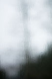 Tree distorted by rain drops on window pane Royalty Free Stock Photo