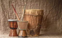 Tree djembe drums Royalty Free Stock Image
