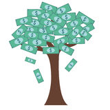 Tree with dollar bills for leaves Royalty Free Stock Images