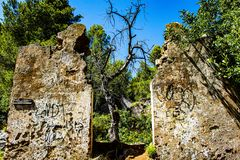 A tree on the door. Old dead tree obstructs a door of a ruined ruin on the great senda of Malaga stock photo