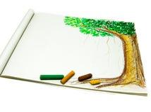 Tree Drawing with Crayon Stock Photos