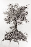 Tree drawing illustration concept made in ash, dust, dirt, sand. Tree drawing illustration concept made in grey ash, dust, dirt, sand Royalty Free Stock Photo